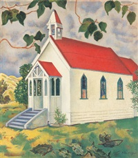 st. luke's church, waikanae by rita angus