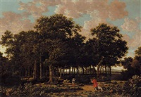 a wooded landscape with a huntsman and a shepherdess by joris van der haagen