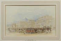 view of calcutta with military parade by thomas allom