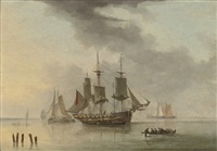 an armed merchantman at anchor in a calm by john ward of hull