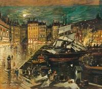 le port de marseille, la nuit by alexei konstantinovich korovin