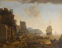 a coastal mediterranean landscape at dusk with peasants walking beside ruins, seamen coming ashore and vessels at sea beyond by lieve pietersz verschuier