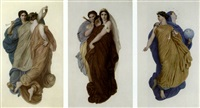 melpomene, muse du chant et de l'harmonie et thalie (+ 3 others; set of 4) by karl e.r. heinrich lehmann