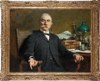 portrait d'homme assis à son bureau by bela hoese