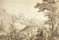 a classical landscape with two figures in the foreground by andrea locatelli