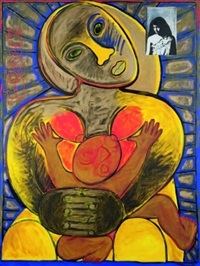untitled - mother and child by robyn kahukiwa