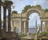 a classical capriccio with elegant figures amongst roman ruins by philippe meusnier
