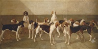 hounds in a kennel by louis eugène ginain