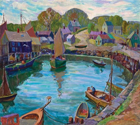 boats in a harbor by fern isabel coppedge