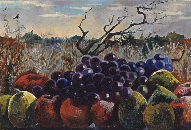 vruchten tegen landschap by charley toorop