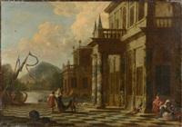 vues architecturales avec des personnages orientaux s'embarquant (pair) by jacob peeters