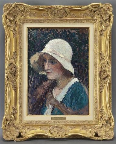 jeune femme au chapeau by henri jean guillaume martin