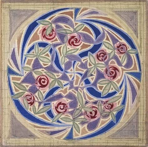 vortice di rose motivo per tappeto by giacomo balla