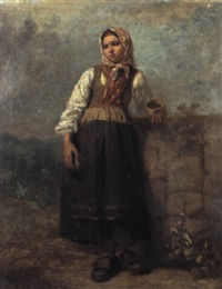 st+ende flicka vid mur by axel gustav hertzberg