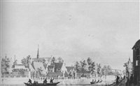 a view of the town of leiderdorp by pieter jan van liender