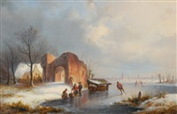 winter landscape with skaters on a frozen river by ernst bosch