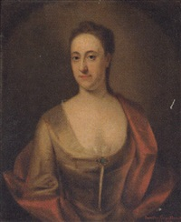 portrait of dorothy branthwayt in a turquoise dress and red wrap by john theodore heins sr.