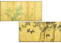 old pine tree and magpies and green bamboo and red ume (6 panelled folding screen) by shuho ikegami