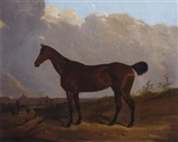 a chestnut hunter in a landscape by joseph (of worcester) dunn