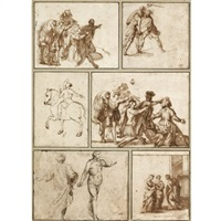 figure studies of different subjects (6 works; various sizes) by francesco (da gubbio) allegrini