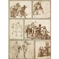 figure studies of different subjects (6 works; various sizes) by francesco (da gubbio) allegrini