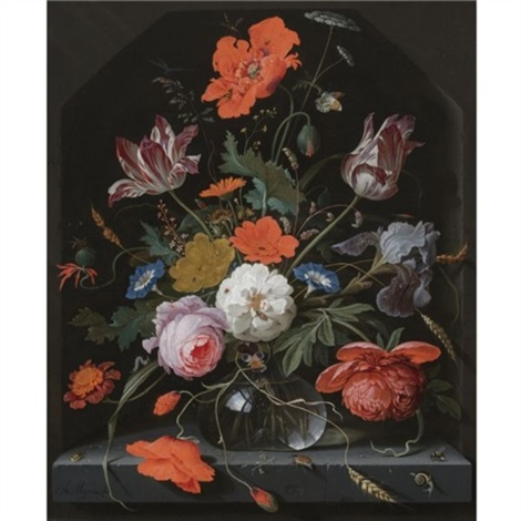 a still life with peonies roses parrot tulips morning glory an iris and poppies in a glass vase set within a stone niche and caterpillars a snail a bee and a cockchafer on the ledge below by abraham mignon