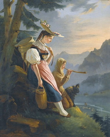 gebirgslandschaft mit bauernmädchen und hirtin by gabriel ludwig lory