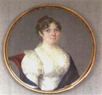 femme à la robe blanche à dentelle et au châle bleu by henriette rath