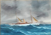 steam yacht beryl on the open sea by antonio de simone