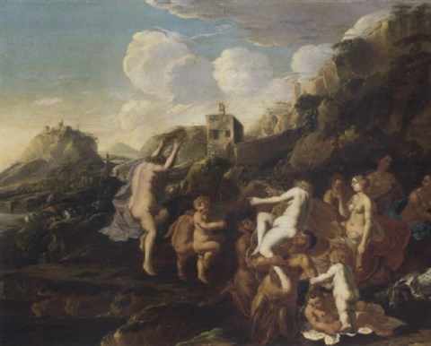 an italianate landscape with a bacchanalian revel by claes nicolas jacobsz tol