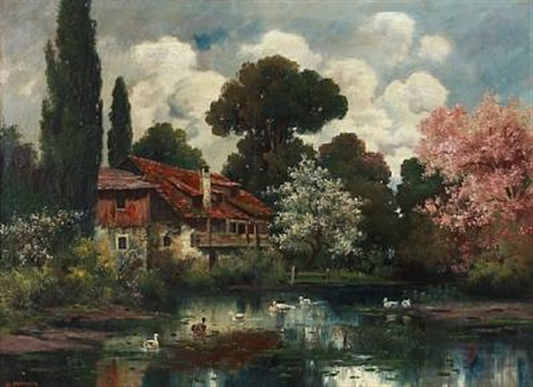 country house at a lake in the summertime by alois arnegger