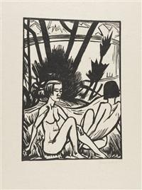 zwei sitzende am strand by erich heckel