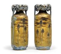 vasenpaar mit ginkgo und mohnblumen by paul dachsel