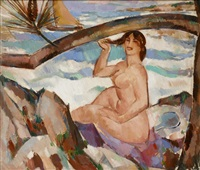 bather, cap d'antibes by john duncan fergusson