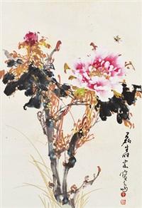 牡丹 镜片 设色纸本 by huang leisheng