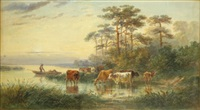 cattle watering and figure in a boat by a river bank by henry earp