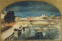 paris, seine illuminated by albert edelfelt