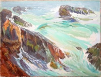 waves on rocks by alfred conway peyton