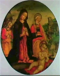a tondo: the holy family with an angel, in a landscape by antonio massari da viterbo