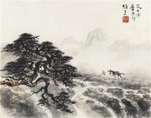 松溪策蹇 walk alone in the cloudy mountain by li xiongcai