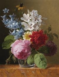 bouquet de fleurs dans un verre by jan frans van dael
