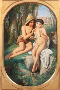idylle arcadienne, joueurs d'aulos by alphonse isambert