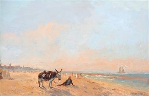 beach scene with a man with his donkey by louis soonius