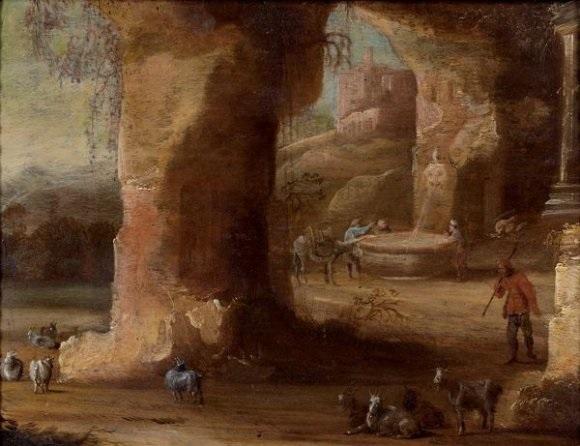 la halte du troupeau près d'une fontaine (in 2 parts) by rombout van troyen