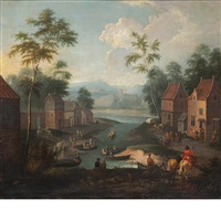 landscape with figures in a village beside a river by jan frans van bredael the elder