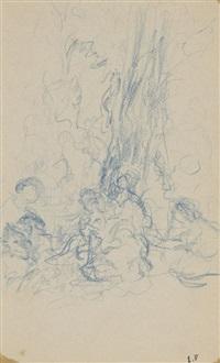 personnages au pied d'un arbre by edouard vuillard