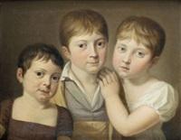 portrait en buste de trois enfants by auguste aubert