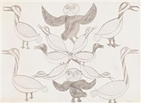 untitled (owl and birds) by kenojuak ashevak