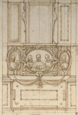 projet dun mur avec trois portraits en médaillon by lazzaro tavarone