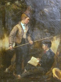 two boys fishing and reading by frederick porter vinton